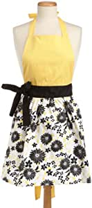 DII 100% Cotton, Trendy & Fashion Daisy Skirt Kitchen Chef Apron, Adjustable Neck & Waist Ties, Machine Washable, Embroidery Area avaliable, Perfect for Cooking, Baking, Crafting & More, Light Yellow/Black Daisy