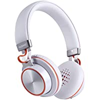 On Ear Bluetooth Headphones, Bluetooth V4.1 Wireless Headphones with Mic Up to 14 Hours of Music Time With Stereo Sound and Soft Earmuff for Smartphone Laptop Tablets Computer-(White)
