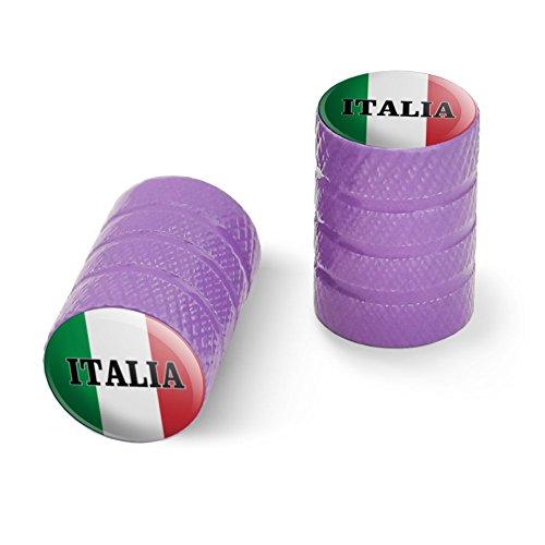 オートバイ自転車バイクタイヤリムホイールアルミバルブステムキャップ - パープルイタリアイタリアイタリアの旗