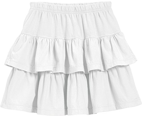 City Threads Big Girls' Cotton Jersey Layered Tiered Skirt For School, Party or Play Perfect For Sensitive Skin and Sensory Friendly SPD, White, 14