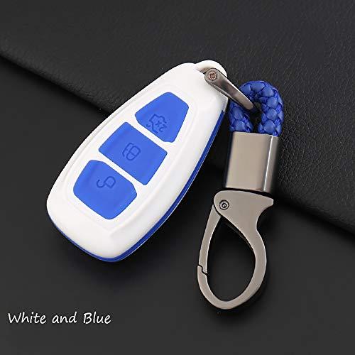 [해외]포드 스마트 키 커버 케이스 키 쉘 키 키 키 키 링 에 대한 ontto 는 포드 몬데오 포커스 3 MK3 ST 쿠가 피에스타 탈출 에코 스포츠 티타늄 (흰색과 파란색)에 맞는 스크래치와 떨어지는 것을 방지 / ontto for Ford Smart Key Cover Case Key Shell...