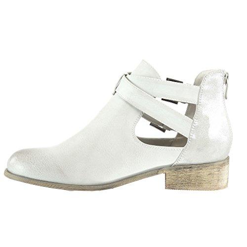 Angkorly - Zapatillas de Moda Botines chelsea boots cavalier stile vendimia mujer brillantes tanga Hebilla Talón Tacón ancho 3 CM - Beige