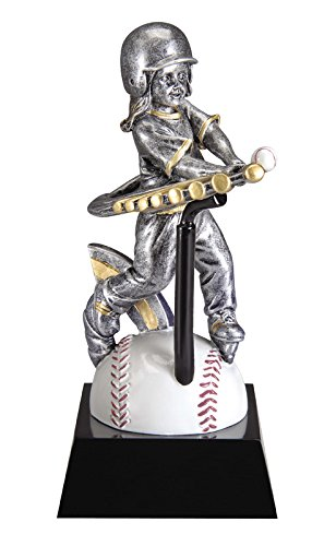 Female T-Ball Motion Extreme Trophy - Girl Baseball Award - Detailed Gold and Silver Finish - Customize Now - Personalized Engraved Plate Included and Attached to Award - Decade Awards by Decade Awards