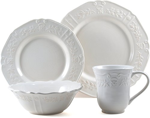 Corningware Traditions White Stoneware 16 Piece Dishware Set, Service for 4