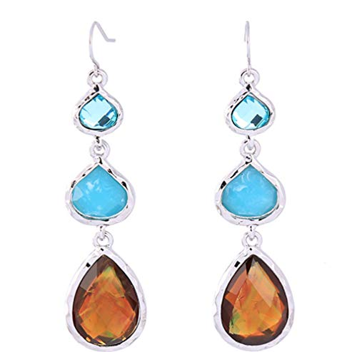 P.phoebus 18K Yellow Gold Plated Earrings Vintage Turquoise Blue Swarovski Crystal Studs Rhinestones Dangle Charms Hoops for Women Girls (7)