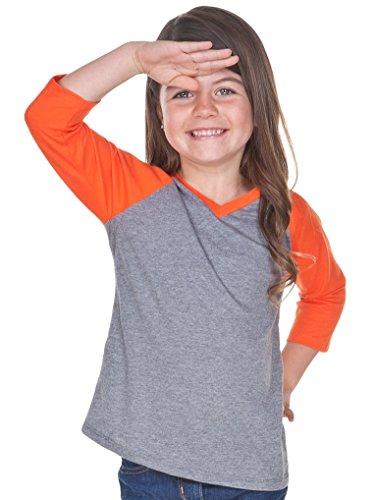 1e853f7d Kavio! Little Girls 3-6X Sheer Jersey Contrast V Neck Raglan 3/4 Sleeve