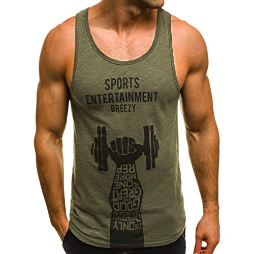 Japanese Weekend Maternity Clothes - Mens M cle Tank Tops Print Sleeveless Bodybuilding Fitness Tight-Drying Vest Blo ES Beautyfine Green