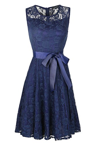 NALATI Women Sleeveless Round Neck With Bow Belt Floral Knee Length Short Lace Bridesmaid Pleated Swing Dress (L, Dark Blue) (Country Floral Dress)