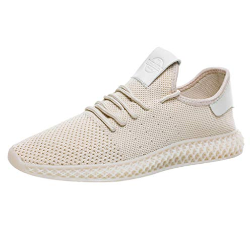 iHPH7 Sneakers Ultra Lightweight Comfortable Work Tennis Running Shoes Solid Color Matching Mesh Breathable Sneakers Casual Wild Running Shoes Men (39,Beige) ()