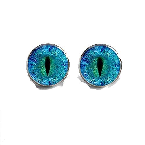 Dragon Eye Stud Earrings Green Blue or Purple Eye Ear Nail Sauron Eye Jewelry Glass Cabochon Earrings Handmade HZ4,3,Silver -