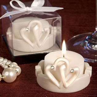 Candle Wedding Favors Interlocking Hearts