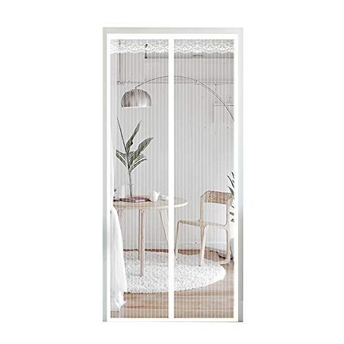 Magnetic Instant Screen Door 36 X 80 With Heavy Duty Mesh Curtain,Magic Insect Mosquito Net For French Sliding Doors,Fishing Boat,White,183x244cmcm(72x96inch) ()