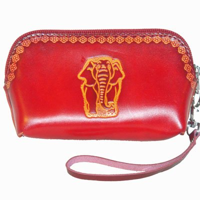 Genuine Leather Wristlet Change Purse, Red Elephant Pattern Embossed, Truly Handmade., Bags Central