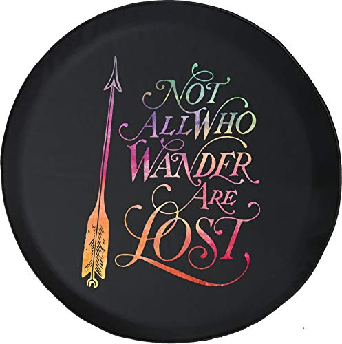 Spare Tire Cover Watercolor - Not All Who Wander Arrow (Fits: Jeep Wrangler Accessories, Camper, RV Accessories) Size 33 Inch (Corp Lost Arrow)