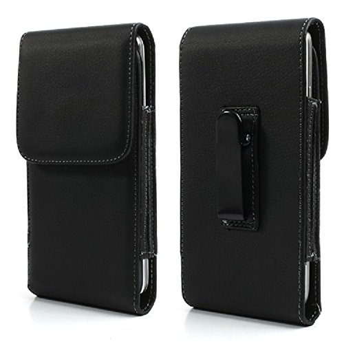 - DFV mobile - Leather Flip Belt Clip Metal Case Holster Vertical for => AGM A8 Mini > Black