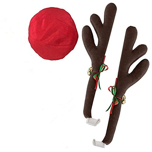 Best Quality Hah Christmas Reindeer Kit for Car Decoration Jingle Bell Antlers Nose Holiday Car Window Auto Rooftop Decor Christmas Ornament Set ()