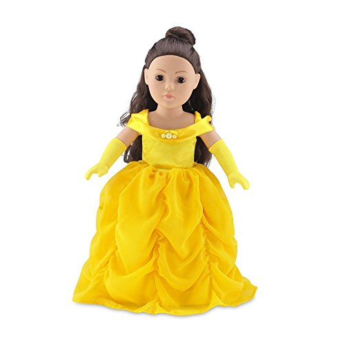 18 Inch Doll Clothes | Gorgeous Princess Belle-Inspired Ball Gown Outfit with Beaded Accents and Matching Elegant Gloves | Fits American Girl Dolls