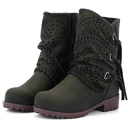 Flock Shoes Army Heel Boots Ladies Suede Green Fashion Out PENGYGY Bandage Women Hollow Low wxngzxvOPq