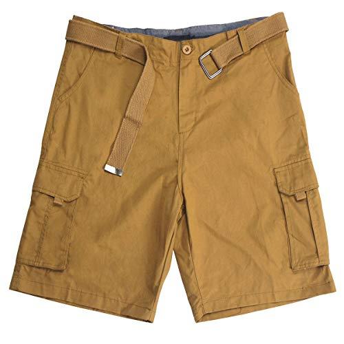 100% Cotton Twill Men's Cargo Short with Waist Belt 6 Pockets Work Tactical Hybrid Lightweight Basics Ripstop Short Pants Khaki 34