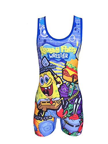 (TRI-TITANS Krabby Patty Wrestling Singlet- Folkstyle Boys and Mens (Adult S: 125lbs-145lbs))