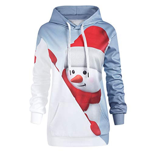 - CMrtew Women Christmas Sweatshirts Hoodies Kangaroo Pocket Cartoon Snowman 3D Print Christmas Pullover