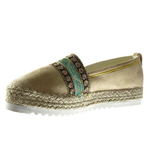 Angkorly - Chaussure Mode Espadrille Mocassin plateforme slip-on femme brodé corde finition surpiqûres coutures Talon compensé plateforme 3 CM - Beige