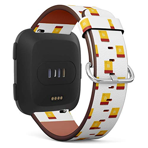 Compatible with Fitbit Versa - Quick-Release Leather Band Bracelet Strap Wristband Replacement - Yellow Calendar Date