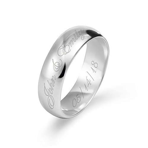Engravable Sterling Silver Men's & Women's 6mm Ring (ring sizes 5 to ()