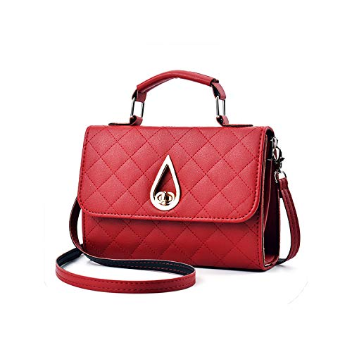 (Women Handbag Leather Shoulder Bag Crossbody Messenger Bag Plaid Drip Elegant Bags,wine red )