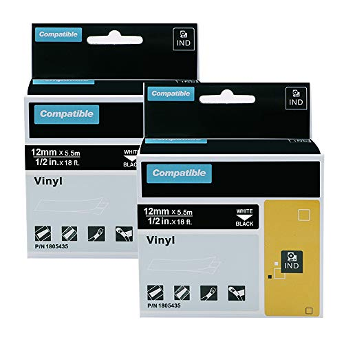 2 Pack Compatible DYMO 1805435 Rhino Industrial Black Vinyl Label Tapes for DYMO Rhino 5200, 4200, 5000, 6000 Industrial Label Makers and More, White on Black, 1/2 inch (12mm) x 18 feet (5.5m)