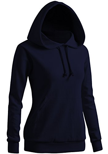 CLOVERY Women's Long Sleeve Kangaroo Pocket Pullover Hoodie NAVY US XL / Tag XL (Navy Hooded Pullover Sweatshirt Us)