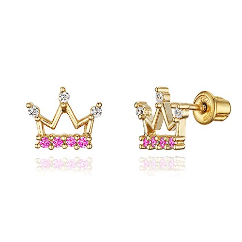 Brass Plated Earrings Gold - 14k Gold Plated Brass Princess Crown CZ Screwback Baby Girls Earrings with Silver Post