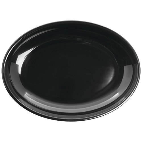 Shallow Serving Bowl Oval Black Melamine - 16
