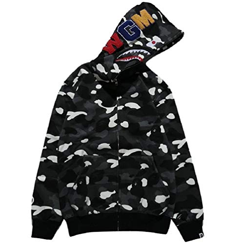 Capturelove Shark Head Mens Hoodies Womens Full-Zip Hooded Sweatshirt Hip-Hop Funny Tops