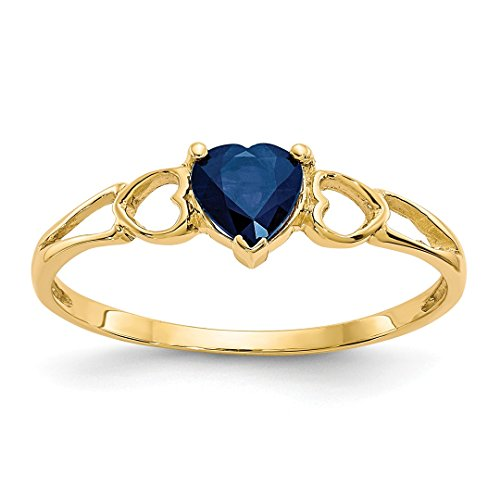 14k Yellow Gold Sapphire Birthstone Band Ring Size 7.00 Stone September Style Fine Jewelry For Women Gift Set