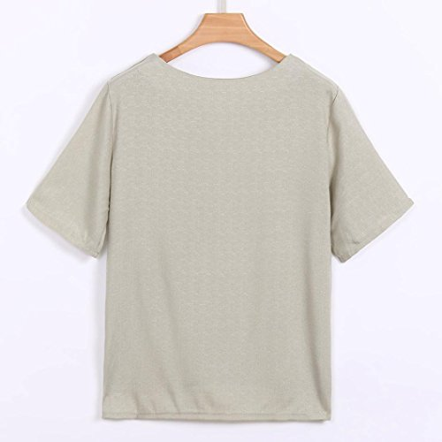 Grande Lin Coton Manche Col Taille Shirt Beige Haut Fleur Blouse Casual V Tops Chemisier T Court Sexy Chic Femme 7qYwO74