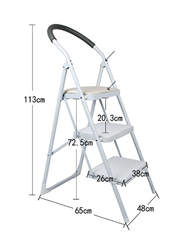 Mei Xu Iron foot bench - adult children's ladder folding chair indoor kitchen portable ladder/storage rack/footstool/flower stand/black/pink/white Step stool and telescopic ladderer