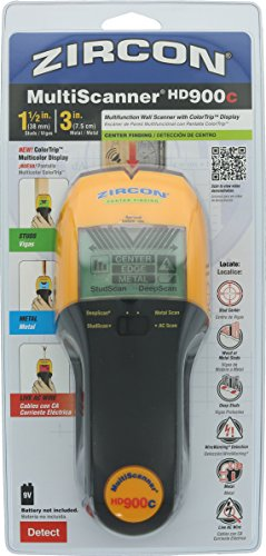 Zircon HD900C 9 Volt 4-Mode Multicolor Multiscanner for Finding Studs, Live Wire, or Metal w/ Backlit Display (Battery Not Included, Tool Only)