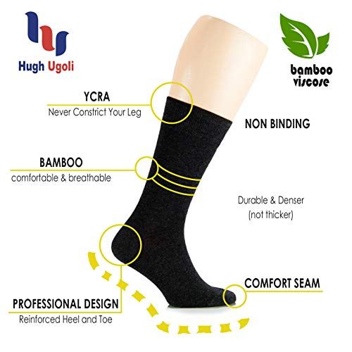 2a0f82f3229 Hugh Ugoli Women s Dress Crew Socks Bamboo Business Casual Comfort Seam( Black)