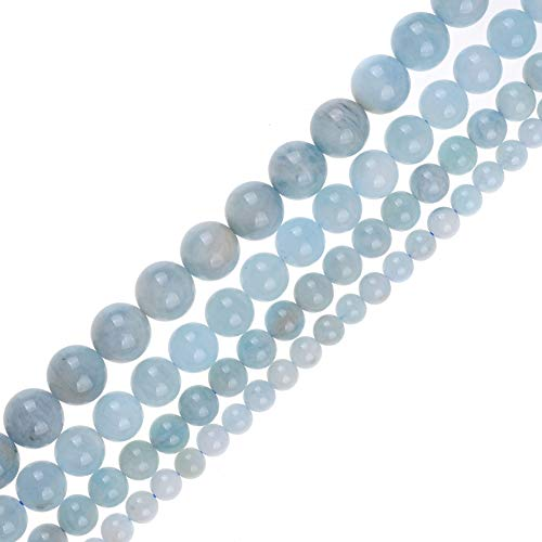 Genuine Natural Real Smooth Round Aquamarines Gemstone Beads Loose Beads for Jewelry Making Approxi 15.5