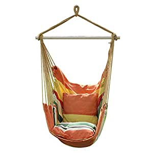 Hanging Rope Chair - Swing Hanging Hammock Chair - Porch Swing Seat -for Indoor or Outdoor Spaces With Two Cushions - Max.265 Lbs (Yellow&Orange)