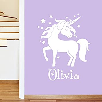 Personalised Unicorn Girls Name Childrens Wall Sticker   Art Vinyl Decal  Transfer, Childrens Bedroom, Part 65