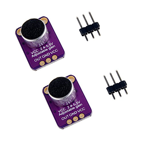 2pcs Electret Microphone Amplifier, GY-MAX4466 Breakout Sensor with Adjustable Gain Control for Arduino ()