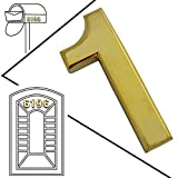 """2-3/4"""" Self-Stick Solid Golden Metal Mailbox Numbers, 3D Radian Metal Number, Two Pieces of Number 1 by Magicdo"""