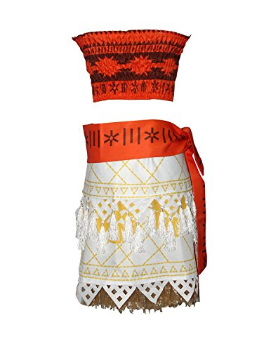 Adult Polynesian Costumes Skirt (Quesera Women's Moana Costume Patterned Belt Tassel Skirt Set Outfit Party Costume, Red, Tag Size L=Adult Size S)