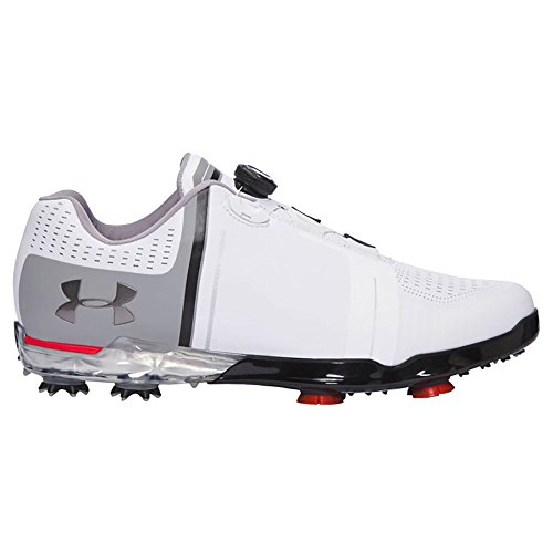 NEW 2017 Mens Under Armour Spieth One Boa Golf Shoes White Black Red Sz 10 W