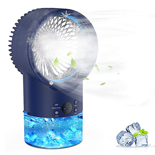 EEIEER Air Conditioner Fan Personal Evaporative Cooler Circulator 3 Speeds 2/4H Timer 7 Colors LED Light 2 Misting Modes…