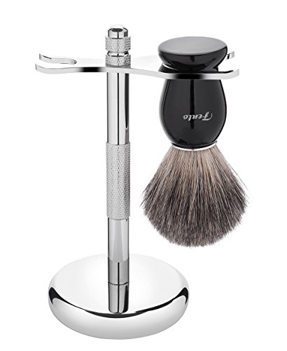 Fento Pure Badger Hair Shaving Brush and Chrome Razor Stand Shaving Set