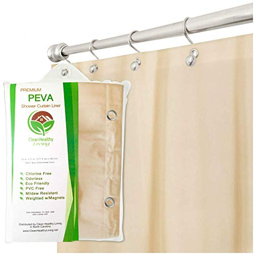 Clean Healthy Living Premium PEVA Shower Liner/Curtain: Odorless & Mildew Resistant (with Magnets & Suction Cups). Eco Friendly 70 x 71 in. Long - Taupe Color