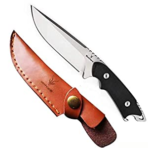 アウトドアナイフ 高品質シースナイフ サバイバルナイフ 【本革ケース付き】